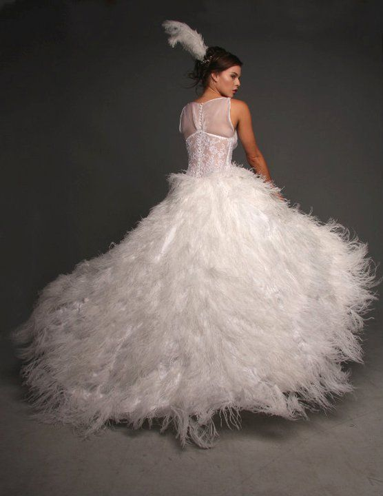 Butterfly Feathered Wedding Dress http://www.arcarocouture.com.au