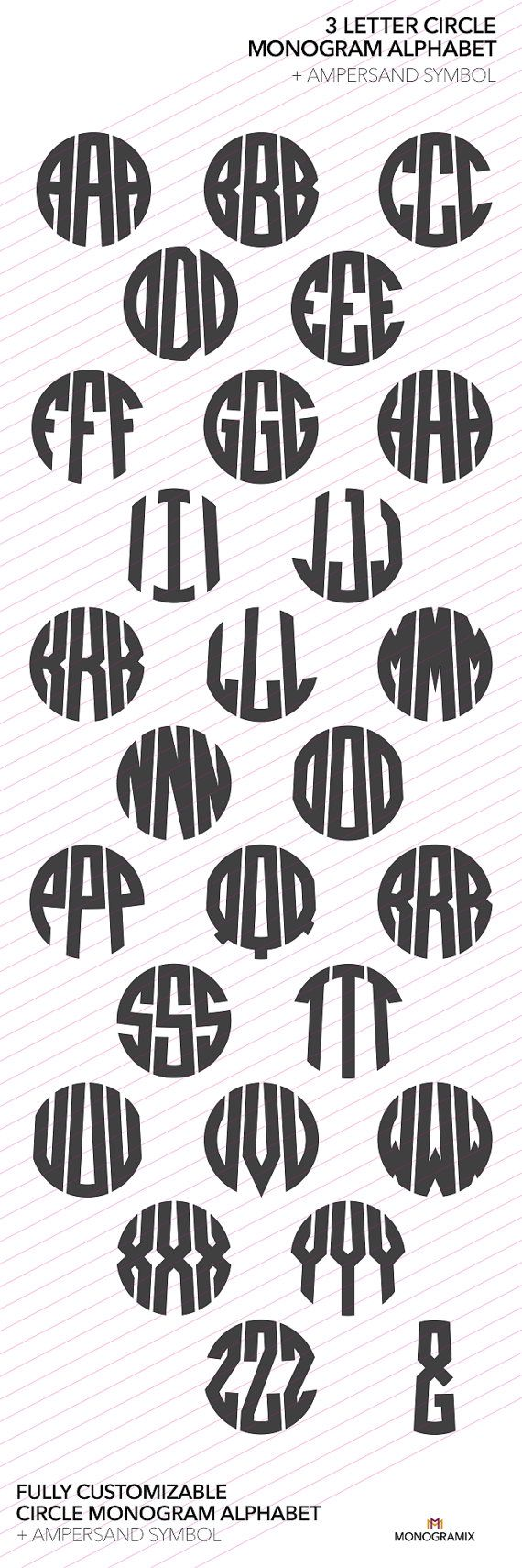 3 Letter Circle Monogram Alphabet (Ai, EPS, SVG, DXF, Studio) Personal Monogram Letters, Cut files for Silhouette Studio, Cutting Machines
