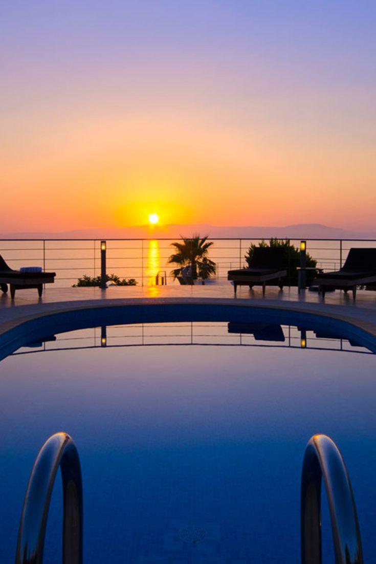 Charming sunset from the sea view Tersanas Villa Alma in Tersanas, Chania, Crete #crete #greece