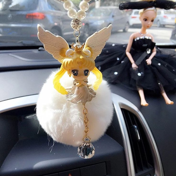 Bling Car Mirror Pendant - Sailor Moon Princess Tsukino Usagi Crystal Pearl and Pompom Pendant