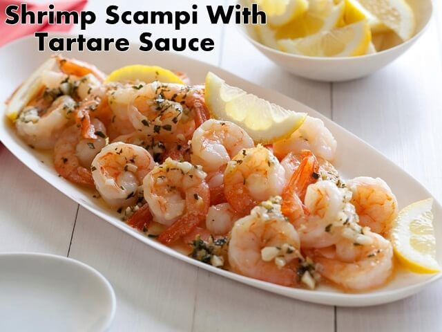 This is a recipe for shrimp scampi with a tartar-dip of gherking, herbs and capers. Here is how you can make it, as well as what you need for it.  #delicious #recipes #EasyRecipes #desserts #healthyfood #healthyrecipes #healthyeating