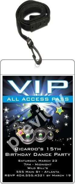 Nightclub DJ Dance Party VIP Pass Invitation w Lanyard - Blue   Get on the dance floor! This hip DJ VIP pass birthday party invitation is the ultimate way to invite friends and family to your dance party! It's a great VIP party invitation for any age - kids, teens and adults. It's also great for large parties at nightclubs! This epically awesome VIP pass party invitation is available in 4 colors. This large size VIP pass features a 4x6 invitation inserted into a clear vinyl pouch. A black lanya…