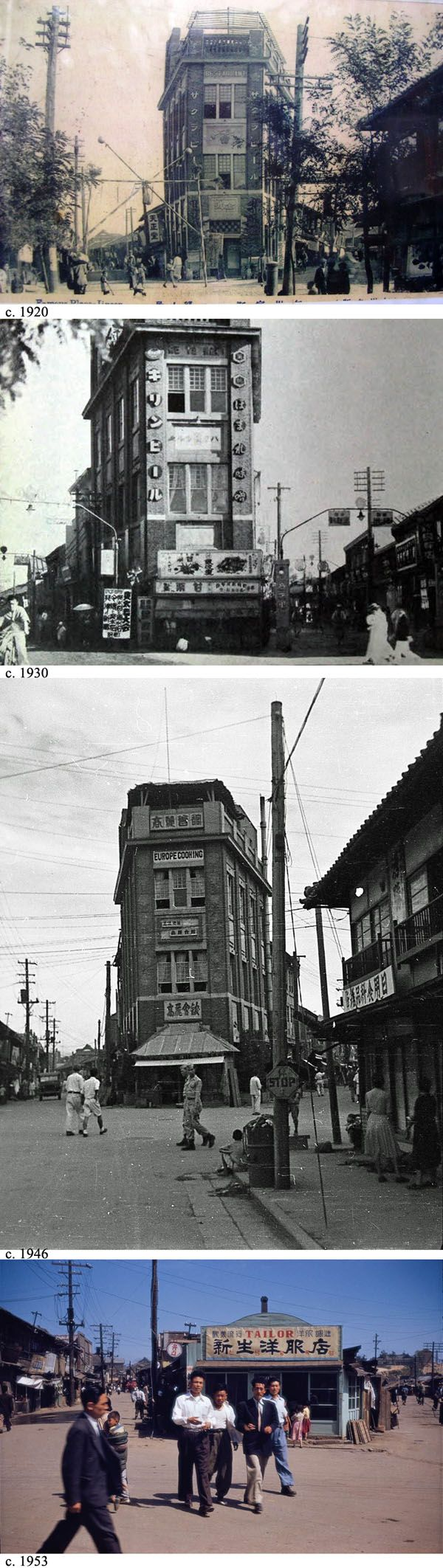 Same corner in Incheon 1920s through 1950s