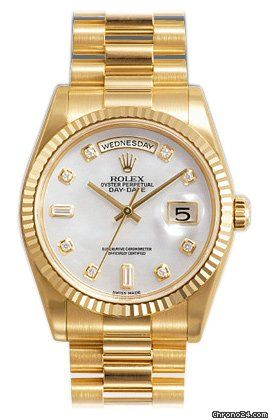 Rolex Day Date Mother of Pearl Diamond Dial President Bracelet 18k Yellow Gold Mens Watch 118238MDP   Write a Review