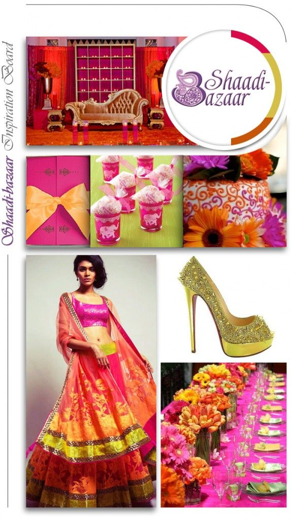 wedding inspiration board, colorful lehenga, south asian bride, indian bridal clothing, table setting, wedding shoes, wedding favors #shaadibazaar
