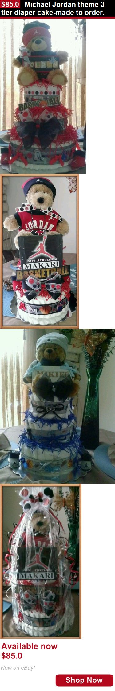 Baby Diaper Cakes: Michael Jordan Theme 3 Tier Diaper Cake-Made To Order. BUY IT NOW ONLY: $85.0