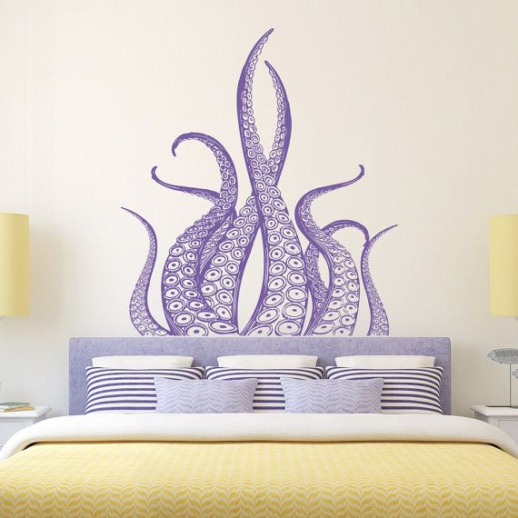 Octopus Wall Decal Tentacles Kraken Decal Sea Animals by PonyDecal