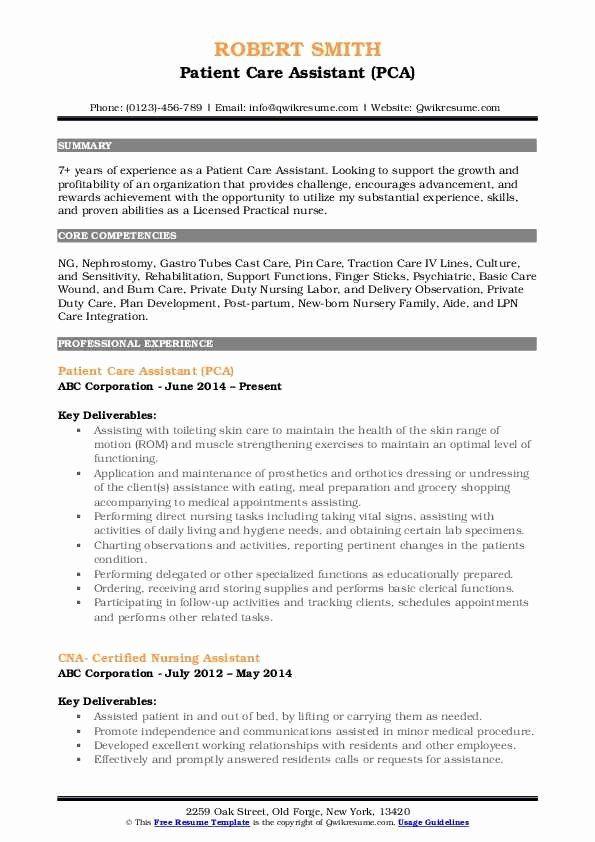 Patient Care Assistant Job Description Resume Inspirational Patient Care Assistant Resume Samples In 2020 Job Resume Samples Patient Care Assistant How To Be Outgoing
