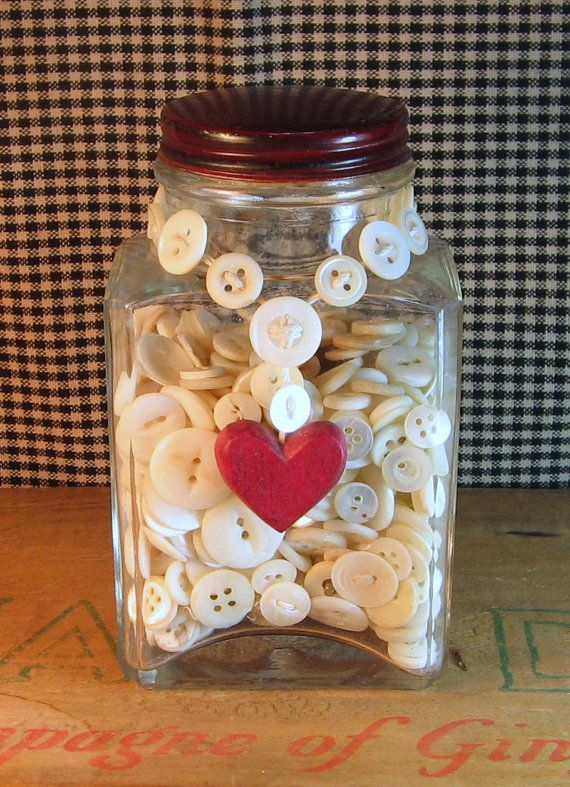 Vintage Jar of Pearl Buttons with Heart Necklace