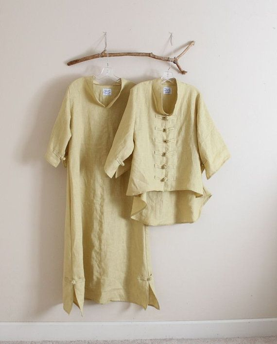 linen outfit dress with jacket handmade to measure by annyschooecoclothing,