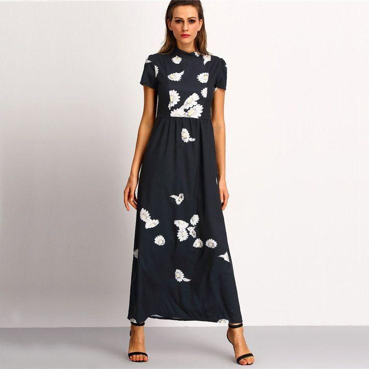 ♡ Black High Neck Short Sleeve Flower Print Chiffon Elegant Maxi Dress ♡