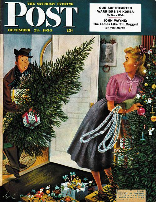 Tree Love by Constantin Alajalov ~ The Saturday Evening Post December 23, 1950