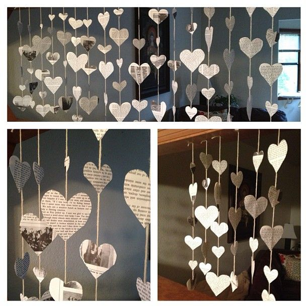 Valentines Day heart garland made from old books or newspaper! I saw this in a display window downtown and was obsessed with recreating it in our house :)