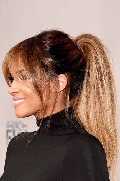 Balayage - pony tail - blonde - brunette - shiny hair - bangs