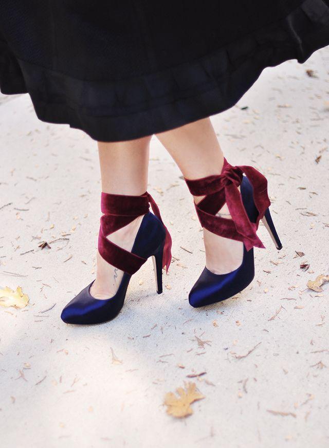 e1d89648579 Velvet Ribbon Ankle Wrap Bow Heels DIY (...love Maegan ...