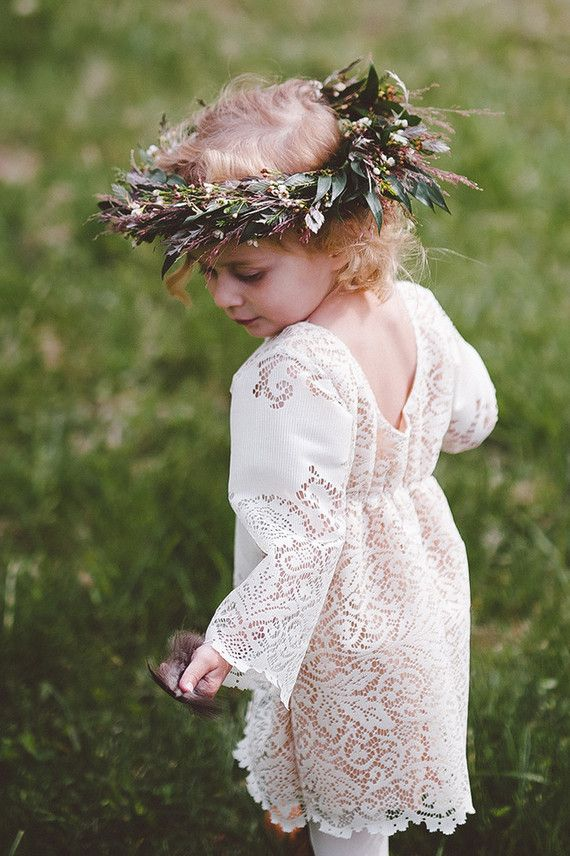 Bohemian flower girl with floral crown