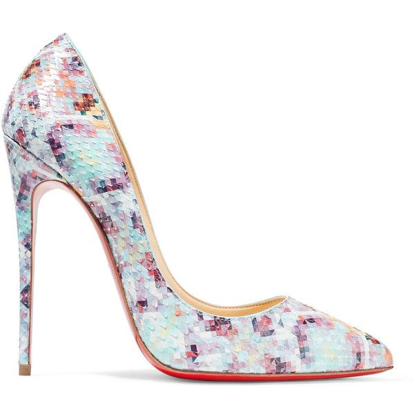 Christian Louboutin Pigalle Follies 120 printed python pumps (€1.005) ❤ liked on Polyvore featuring shoes, pumps, snake print pumps, pointy shoes, snakeskin print pumps, patterned pumps and christian louboutin stilettos