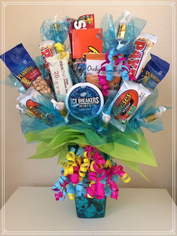 """Take a look at this """"sweet"""" candy bouquet birthday gift with a variety of delicious hunger-busting treats!"""
