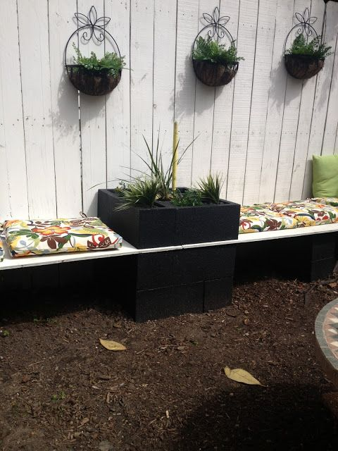 Outdoor sectional - Painted Cinder Blocks and Stained Wood not Painted