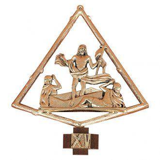 Vía crucis latón dorado 15 estaciones . 22 x 25 cm | venta online en HOLYART