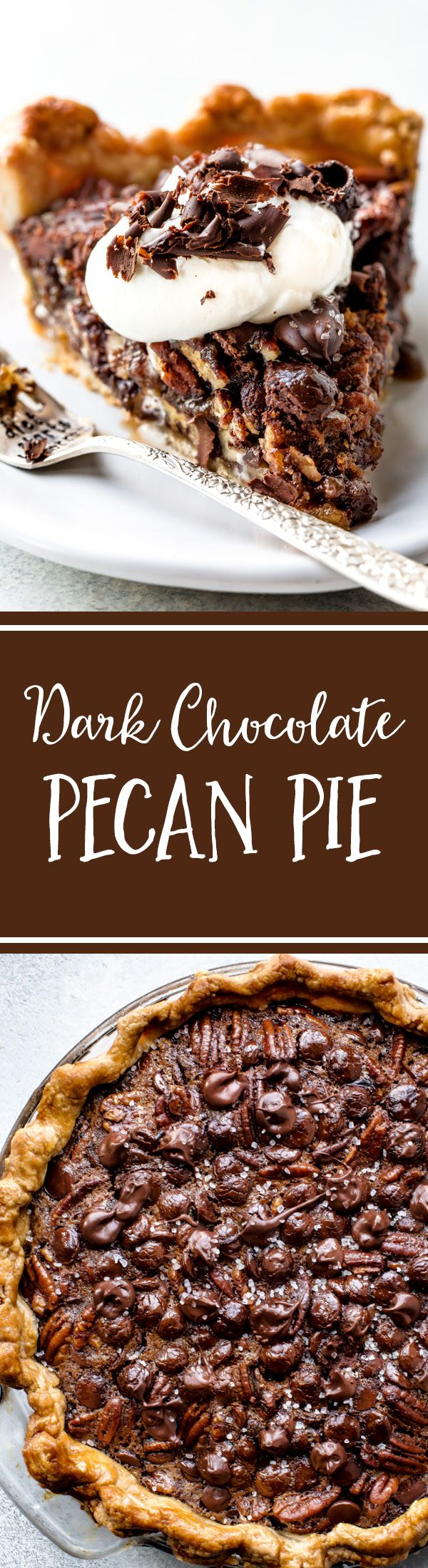 Deep decadent and delicious dark chocolate pecan pie with sea salt! Recipe on sallysbakingaddiction.com