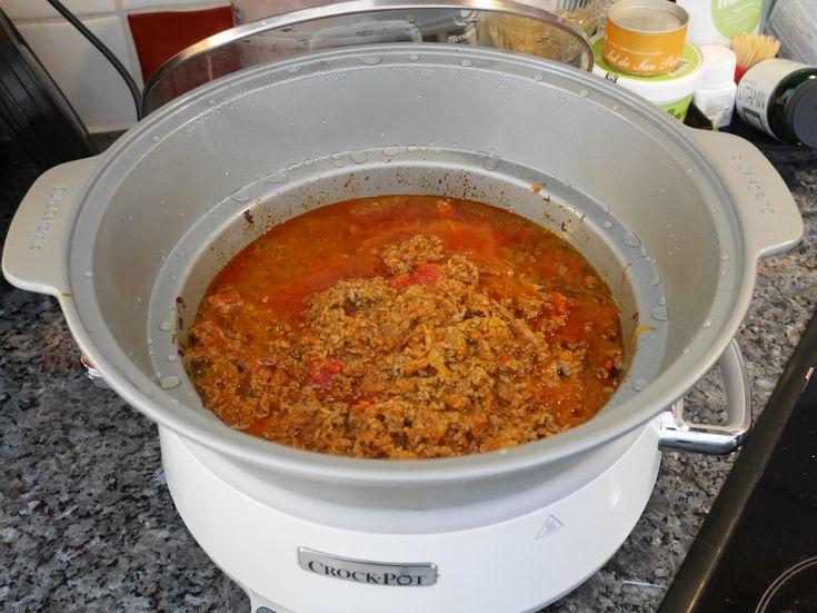 Magiskt god köttfärssås i Crock-Pot, Crock-Pot, recept bästa köttfärssåsen, recept köttfärssås i Crock-Pot, långlagad köttfärssås, recept Crock-Pot