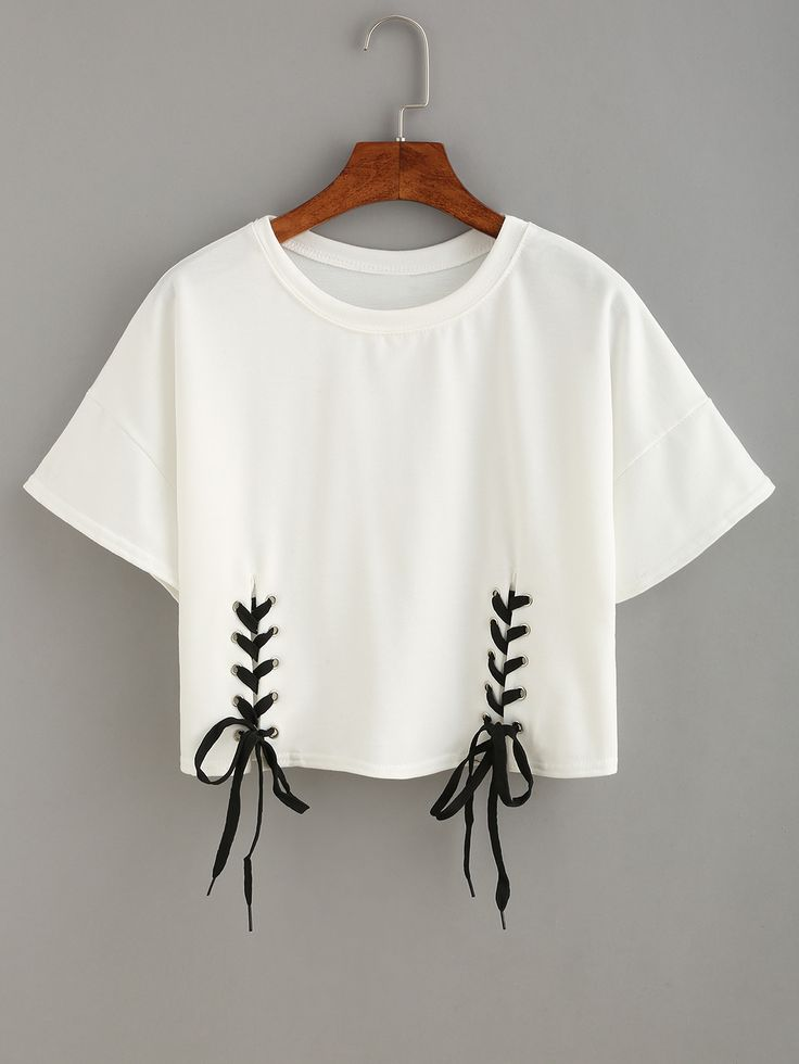 Shop Double Lace-Up Hem Crop T-shirt online. SheIn offers Double Lace-Up Hem Crop T-shirt & more to fit your fashionable needs.