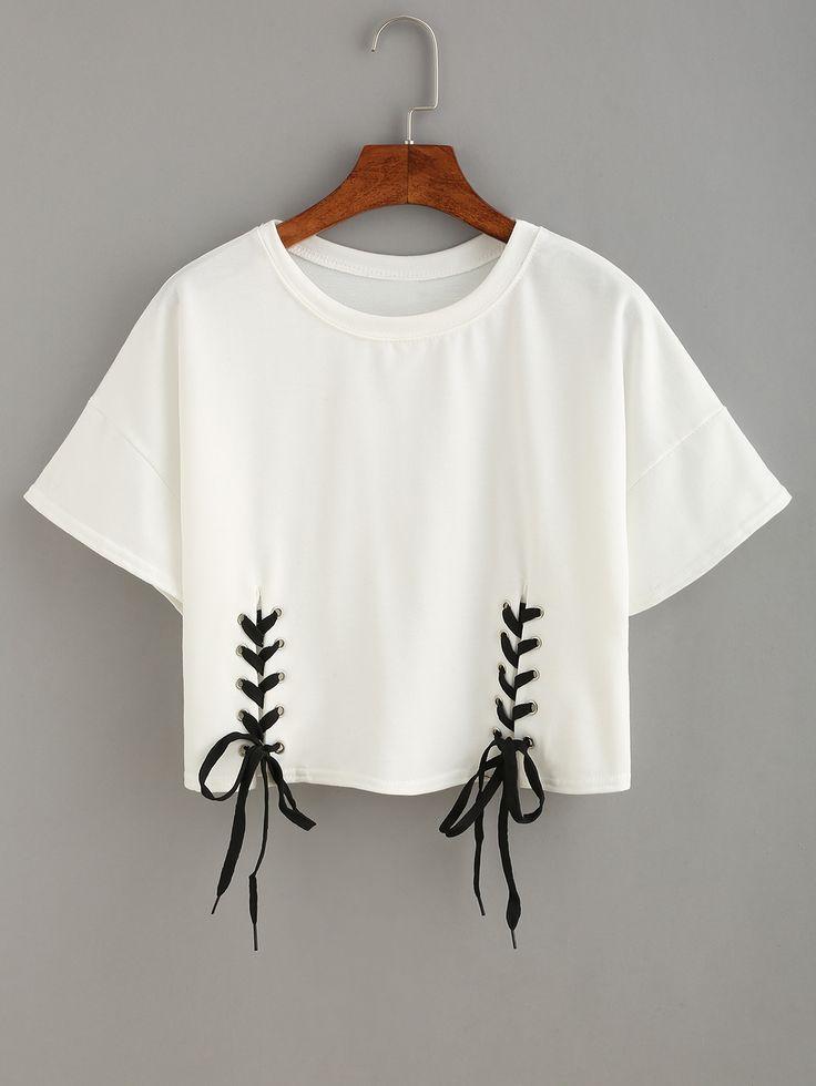 T-shirt+court+avec+lacets+-+blanc++8.33