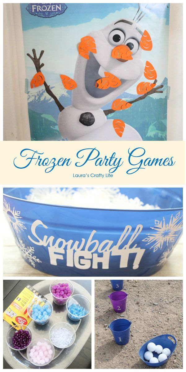 Frozen Party Games. Make your next Frozen party a hit with these fun games. Almost all of them you can make yourself on a budget. Pin the Nose on Olaf, Snowball Fight, Bracelet Making and more!
