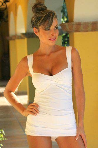 White Marilyn Tankini