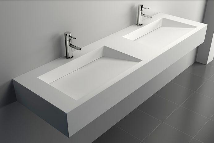 Wandwaschbecken Aufsatzwaschbecken TWG16 aus Mineralguss Solid Stone - 152 x 45 x 15 cm günstig online kaufen