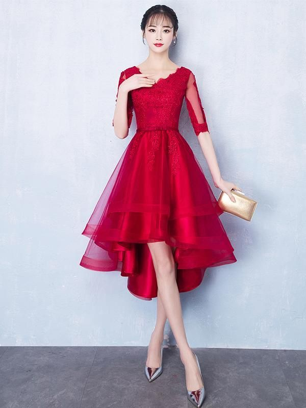 7a7937a0b4bdba Long Sleeves Red Lace High Low Cheap Homecoming Dresses Online ...