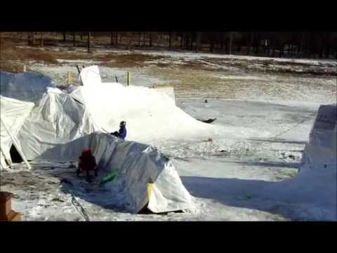 The ULTIMATE Backyard Sledding, 12 ft walls, 25+ MPH, crashes included - YouTube