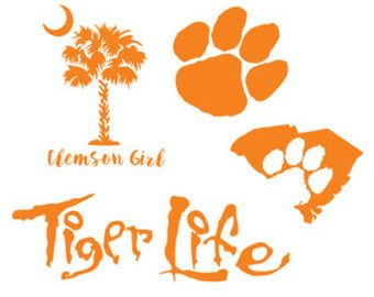 clemson south carolina football set svg dxf file instant download silhouette cameo cricut clip art