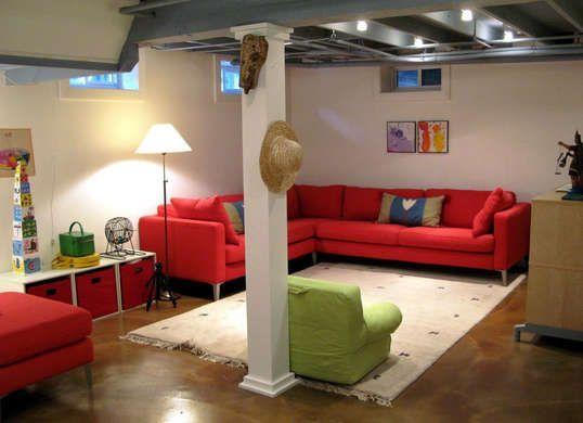 Colorful unfinished basement idea