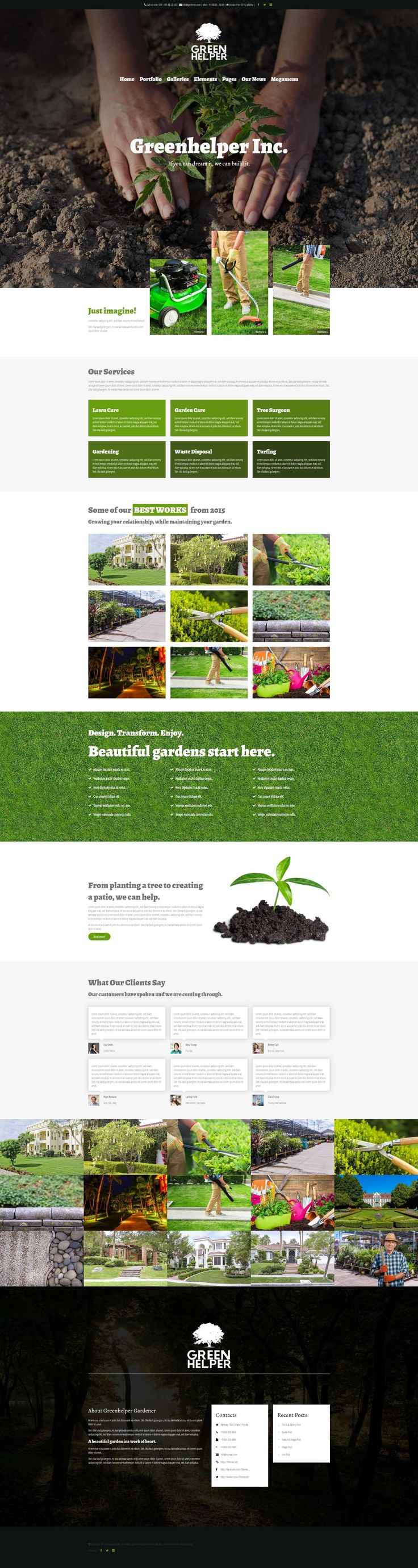 Greenhelper is a new gardener WordPress Theme with a very unique design