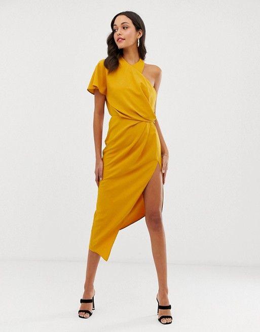 b70177be4 DESIGN asymmetric neckline drape detail midi dress in 2019 | Fashun ...