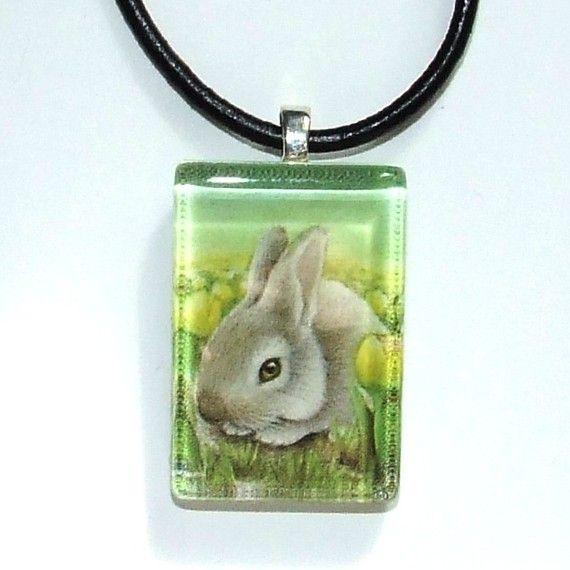 Easter bunny  wearable art necklace featuring print by tanyabond, $25.00