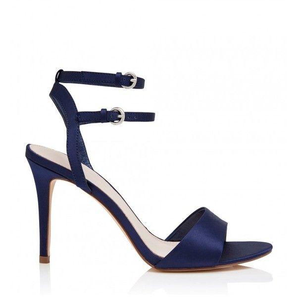 Octavia Heeled Sandals (72 CAD) ❤ liked on Polyvore featuring shoes, sandals, navy blue shoes, navy blue sandals, navy shoes, navy heeled sandals and navy blue heeled sandals