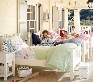Move the beds to the porch in the summer! OH, what fun!: Idea, Beach House, Beds, Screened Porch, Sleepingporch, Sleeping Porches, Pottery Barn Kids, Outdoor Spaces, Bedroom