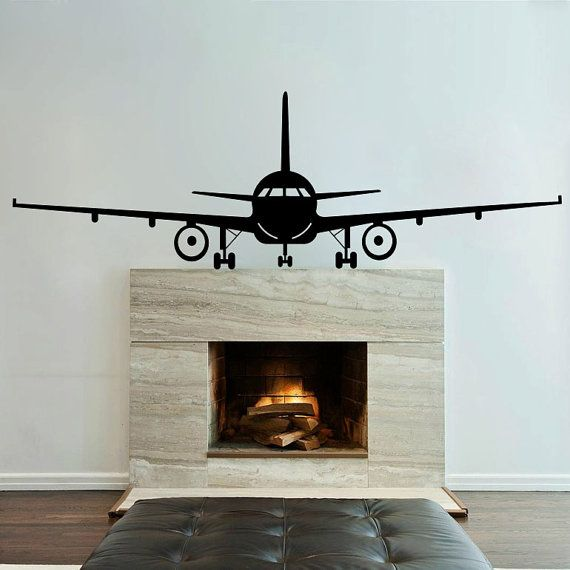 Airplane Wall Decal Jumbo Jet Vinyl Sticker Home by piksyprint, $14.90 - over the door?