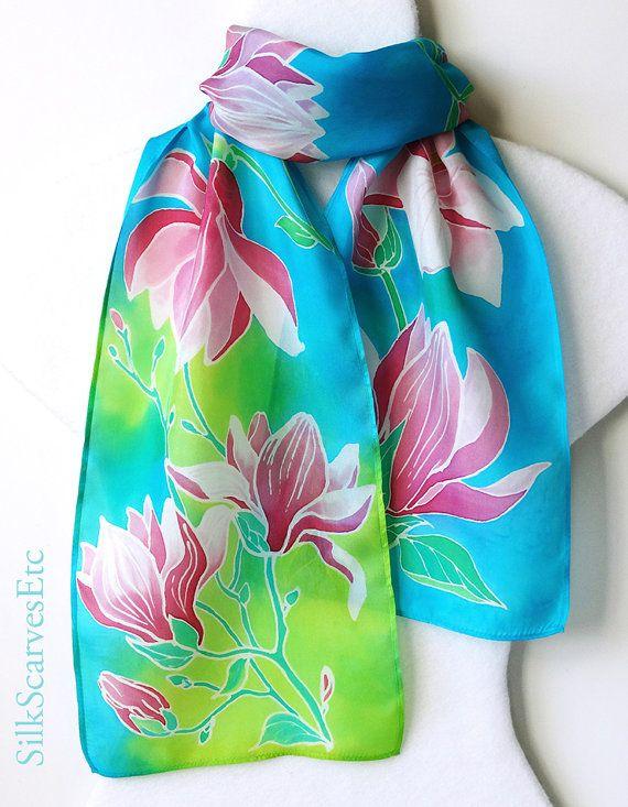 Handpainted silk scarf green teal. Floral scarf by SilkScarvesEtc, $76.00