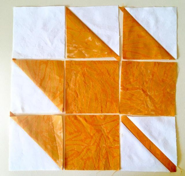 Making the leaf quilt block for the Magical Moose Crossing table runner