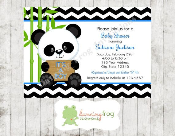 Panda Bear Pink or Blue Baby Shower by DancingFrogInvites on Etsy