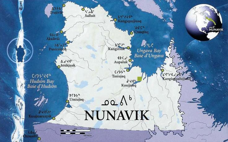The vast area of Northern Québec now known as Nunavik [the place where we live] extends over 560,000 square kilometres. For approximately 4000 years, various human groups occupied this territory. The Inuit arrived in the Canadian Arctic 700 to 800 years ago and now inhabit the entire circumpolar region. Today, there are 14 villages in Nunavik.