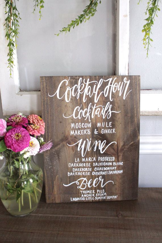 Rustic Wooden Signature Drinks Sign with Stand // Cocktail Hour Sign // Wedding Bar // Rustic Wedding Signs ~ by #thepaperwalrus