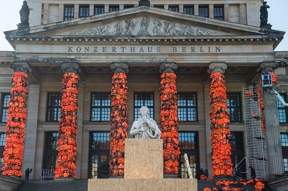 Ai Weiwei's life jacket installation in Berlin. Photo: JOHN MACDOUGALL/AFP/Getty Images