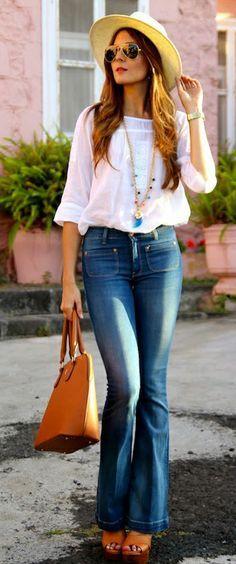 Pantalones estilo 70 o de campana