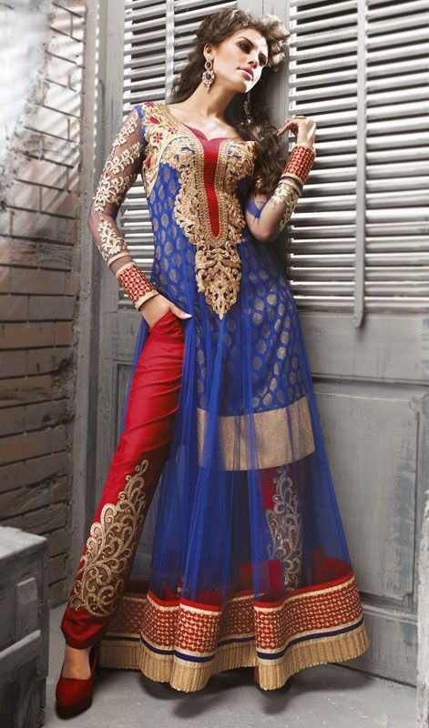 Designer Blue Net Long Length Churidar Suit Price: Usa Dollar $175, British UK Pound £103, Euro128, Canada CA$188 , Indian Rs9450.