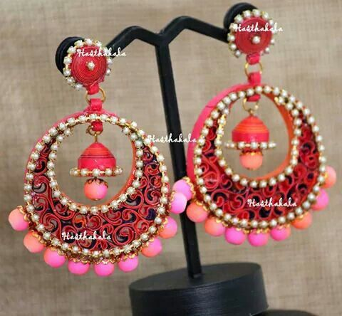 Big Pink paper earrings on www.facebook.com/hasthakala2014